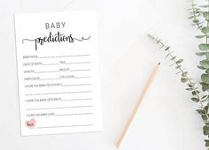 Baby Shower Predictions Card Pink Confetti Baby Predictions