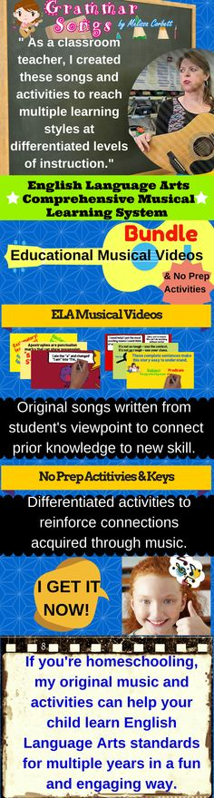 I wrote these songs to help my children learn required concepts in a fun and meaningful way. Not only do I address English Language Arts standards through music, but I support this learning through games, activities, and real-world reading and writing so Elementary Education, Music Education, Kids Education, Early Education, Teaching Reading, Teaching Tools, Teaching Resources, Reading Lessons, Reading Strategies