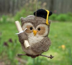 Needle Felted Owl Ornament Graduation by scratchcraft on Etsy, $25.50