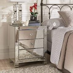 online shopping for Chelsea Lane Silver Mirrored Accent Table from top store. See new offer for Chelsea Lane Silver Mirrored Accent Table Mirrored Bedroom Furniture, Mirrored Nightstand, Dresser With Mirror, Mirror Bedside Table, Bedroom Drawers, Mirror 3, Nightstands, Furniture Layout, Rustic Furniture