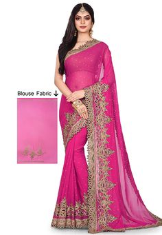 27418f38b4 Buy Pink Georgette Hand Work Saree With Blouse 167336 with blouse online at  lowest price from