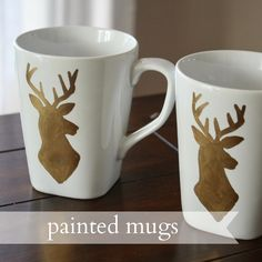 Live a Little Wilder: painted mugs {tutorial} dear head, stag, reindeer silhouette