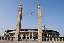 The Olympic Stadium in Berlin where the Olympics were held in 1936.  Little damage happened to it during WWII.