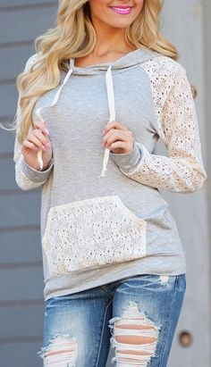 """Love that this """"hoodie"""" has lace incorporated! What a cute, feminine detail.  It makes wearing a hoodie, look put-together!"""