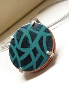 Enameled drawnwork pendant Sterling silver and copper by aforfebre, $45.00