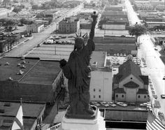 Statue of Liberty atop Liberty National, looking down 3rd Ave S.  Taken 1970.