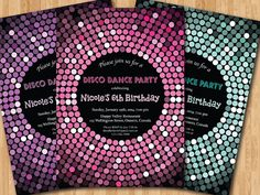 Disco Dance Party Birthday Invitation. Girl birthday by arthomer, $10.00