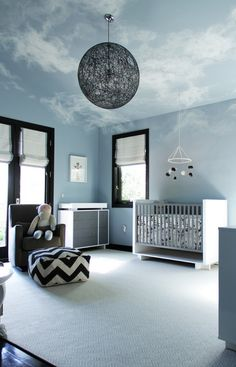 Baby boy #nursery room decoration. Don't you LOVE the clouds on the ceiling?