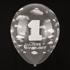 50X Clear Cloud White Latex Transparent Balloons 1st First Birthday Party Decor…