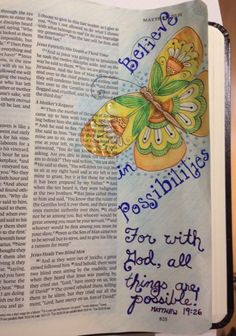 From my Journaling Bible Community on Facebook. Scripture art in Journaling Bible, book of Matthew butterfly