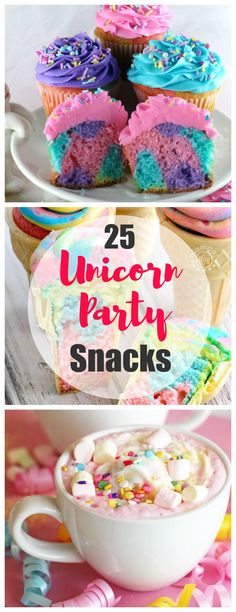 25 Unicorn Party Snacks for the Most Magical Party Ever Hosting a magical Unicorn Birthday Party for your little girl and need ideas for food? We've rounded up the best Unicorn Party Snacks for you right here to make it easy Birthday Party Snacks, Snacks Für Party, Unicorn Birthday Parties, Cake Birthday, Snacks Kids, Birthday Ideas, Diy Unicorn Party, Diy Snacks, Diy Unicorn Cake