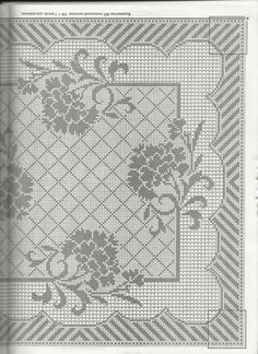 Crocheting: Tablecloth with hydrangeas - Hakeln Weaving Patterns, Lace Patterns, Knitting Patterns, Crochet Patterns, Thread Crochet, Diy Crochet, Crochet Doilies, Art Nouveau Pattern, Fillet Crochet