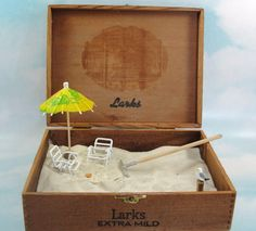miniature zen beach garden in cigar box by EnchantingGardenArt