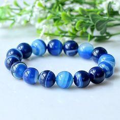 Fashion Trendy 100% Natural A Blue Stone Bracelet Women Men Jewelry Round Bead Bracelets .Certificate.YZ06
