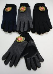 Men's Cuffed Gloves with Suede Palm (Two Tone) Winter Gloves, Palm, Hand Prints