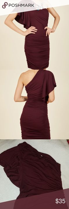 3fe28bf7a3 Modcloth Tasting Room Sheath Dress Gorgeous one-shoulder burgundy dress by  Gilli from Modcloth! Great condition, worn twice. Modcloth Dresses One  Shoulder