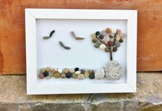 Seascape Beach Pebble and Seashell Picture in by kormendesigns