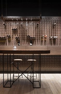 View the full picture gallery of Alcomag Wine Shelves, Wine Storage, Wine Cellar Racks, Wine Cellars, Basement Bar Designs, Basement Ideas, Wine Tasting Room, Wine Display, Wine Wall