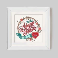 Always & Forever  Customisable Wedding Cross Stitch by Stitchrovia, £7.95