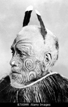 Tribal chief, Maori, ca. 1900