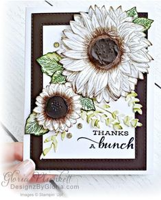 Sunflower Cards, Wink Of Stella, Stampin Up Catalog, Stamping Up Cards, Fall Cards, Creative Cards, Thank You Cards, Cardmaking, Birthday Cards