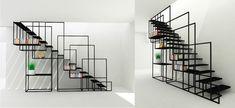 claustra escalier garde corps métal effet graphique design novateur astuce gain place
