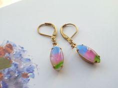 Vintage Sunset Stripe Glass Earrings by MissShugsJewelryShow