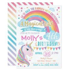 Magical Unicorn Birthday Invitation Rainbow Invite Rainbow Invitations, Unicorn Birthday Invitations, Pink Invitations, Unicorn Birthday Parties, Invite, Shower Invitations, Unicorn Coloring Pages, Disney Cars Birthday, Unicorn Party Supplies