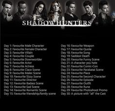 Gonna start this in nine days in celebration of the new season #ShadowhuntersSeason3