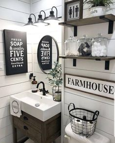 Awesome Small Bathroom Decor Ideas On A Budget. Below are the Small Bathroom Decor Ideas On A Budget. This article about Small Bathroom Decor Ideas On A Budget was posted under the Bathroom category by our team at April 2019 at am. Hope you enjoy it . Rustic House, Farmhouse Bathroom Decor, Bathroom Makeover, Rustic Bathrooms, Bathroom Decor, Farmhouse Bathroom, Custom Vanity, Custom Bathroom Vanity, Small Bathroom Decor