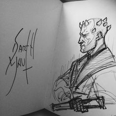 This is what Darth Maul disdainfully signed, hahaha! I doodled it on the wait line before going all Will Smith/Jada Pinkett on him. (They sign in character?! And I wanted to see what it looked like pffft!)