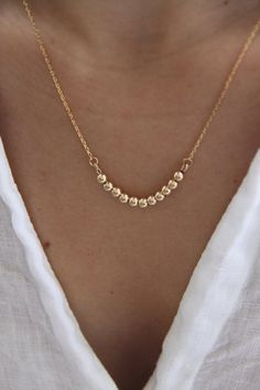 Gold Ball Necklace Dainty Gold Necklace Silver Ball Necklace Gold Chain Necklace Layering Necklace Everyday Necklace Gift For Her. Diamond Choker Necklace, Dainty Gold Necklace, Ball Necklace, Simple Necklace, Diy Necklace, Silver Necklaces, Fashion Necklace, Gold Bracelets, Gold Earrings