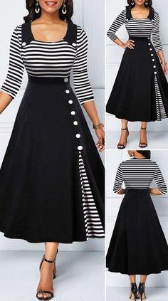 Button Detail Stripe Print High Waist Dress HOT SALES beautiful dresses, p… – Christmas Fashion Trends Stylish Dresses, Modest Dresses, Elegant Dresses, Pretty Dresses, Vintage Dresses, Beautiful Dresses, Casual Dresses, Sexy Dresses, Fashionable Outfits