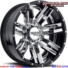Moto Metal Chrome Center w/ Gloss Black Milled Lip Rims And Tires, Wheels And Tires, Car Wheels, Wheel And Tire Packages, Chrome Wheels, Custom Wheels, Custom Trucks, Chevrolet, Automobile