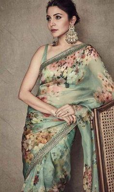 Anushka Sharma in a green floral Sabyasachi organza saree. Sabyasachi Sarees, Indian Sarees, Lehenga Choli, Indian Gowns, Indian Suits, Pakistani Suits, Bollywood Saree, Indian Attire, Bollywood Actress