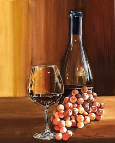 Original watercolor still life painting of wine by margiebarron