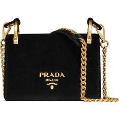 Prada Pionnière velvet shoulder bag (£1,630) ❤ liked on Polyvore featuring bags, handbags, shoulder bags, black, prada shoulder bag, cross-body handbag, structured handbags, lips pursed and cell phone shoulder bag