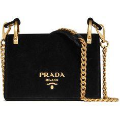Prada Pionnière velvet shoulder bag (€1.775) ❤ liked on Polyvore featuring bags, handbags, shoulder bags, purses, bolsas, black, shoulder handbags, hand bags, purses crossbody and man shoulder bag