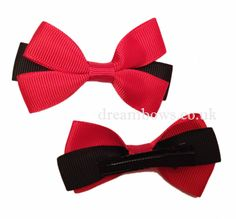 Black and red grosgrain ribbon hair bows on crocodile hair clips for girls - www.dreambows.co.uk #redbows #blackbows #girlsbows #hairbows