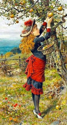 View Picking apples by William Stephen Coleman on artnet. Browse upcoming and past auction lots by William Stephen Coleman. Vintage Images, Vintage Art, Photo Humour, Art Ancien, Illustration Art, Illustrations, Victorian Art, Beautiful Paintings, Belle Photo