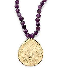 Nest Beaded Amethyst Pendant Necklace