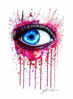 30 best watercolor eyes images in 2013 Watercolor Eyes, Watercolor Paintings, Art Vert, Pixie, Art Rose, Drip Art, Eyes Artwork, Street Art, Drip Painting