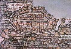 Jérusalem sur la carte de Madaba, à partir de l'église de Saint-Georges à Madaba, en Jordanie.  6ème siècle ap. J.C.