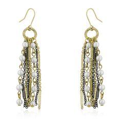 Two-tone Pearl Dangle Earrings – MNM Gifts