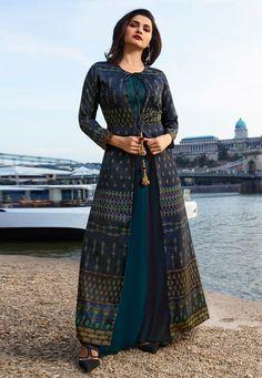 Prachi Desai Blue Silk Gown With Jacket 154129 Designer Anarkali Dresses, Designer Gowns, Pakistani Dresses, Indian Dresses, Designer Kurtis, Cotton Dress Indian, Cotton Dresses, Gown With Jacket, Jacket Style