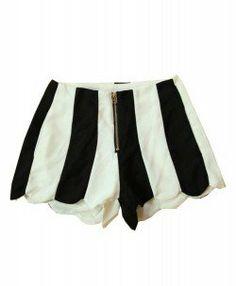 Wavy Edge Color Block Stripe High Waist Shorts
