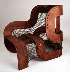 Sculptural Wood and Rope Chair