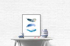 3 Watercolor Feathers Printable Art Print by LeelaPrintableArt