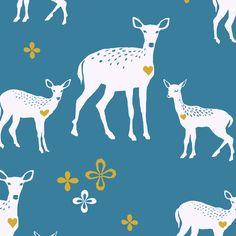 Deerheart by Monaluna - Yard - Fabric - Organic Cotton - Organic Cotton Fabric - Westwood by Monaluna - Teal Fabric - Deer Fabric Deer Fabric, Woodland Fabric, Canvas Fabric, Cotton Canvas, Cotton Fabric, Poplin Fabric, Fabric Patterns, Print Patterns, Stash Fabrics