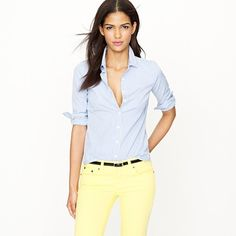 I want this perfect pinstripe shirt, so versatile and cute with a cardigan, Orange or yellow maybe.